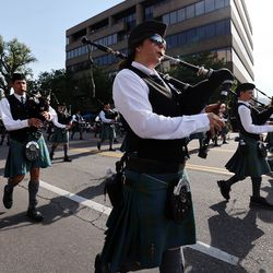 Bagpipers march in the Days of '47 Parade in Salt Lake City on Friday, July 23, 2021.