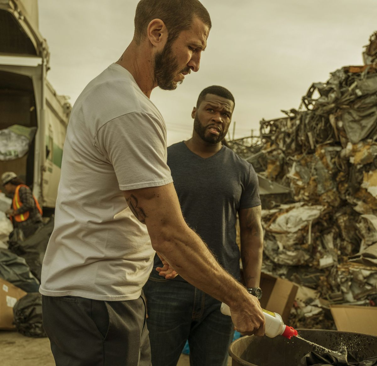 """Pablo Schreiber (left) and Curtis """"50 Cent"""" Jackson play lawbreakers in """"Den of Thieves."""" 