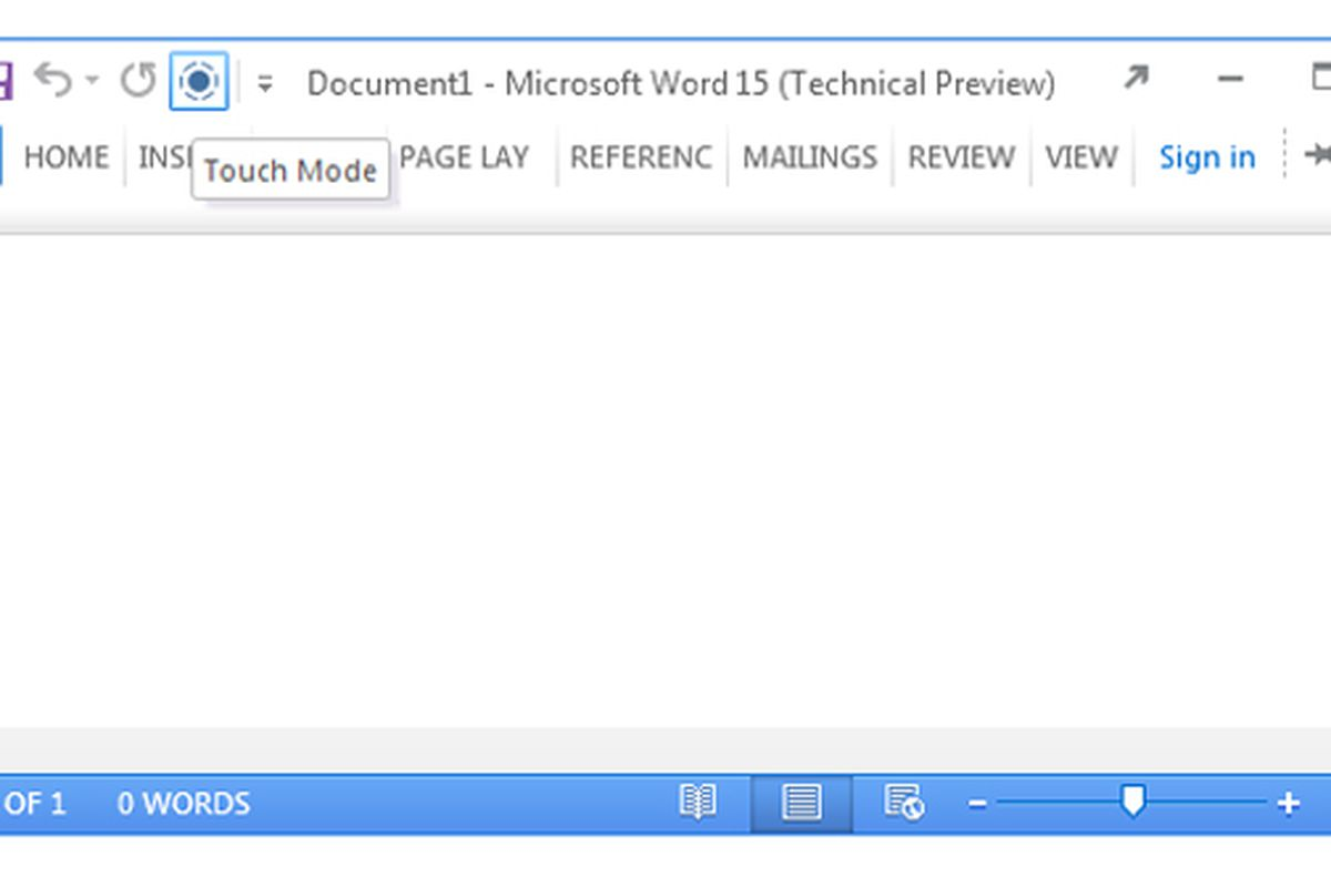 Office 15 touch mode