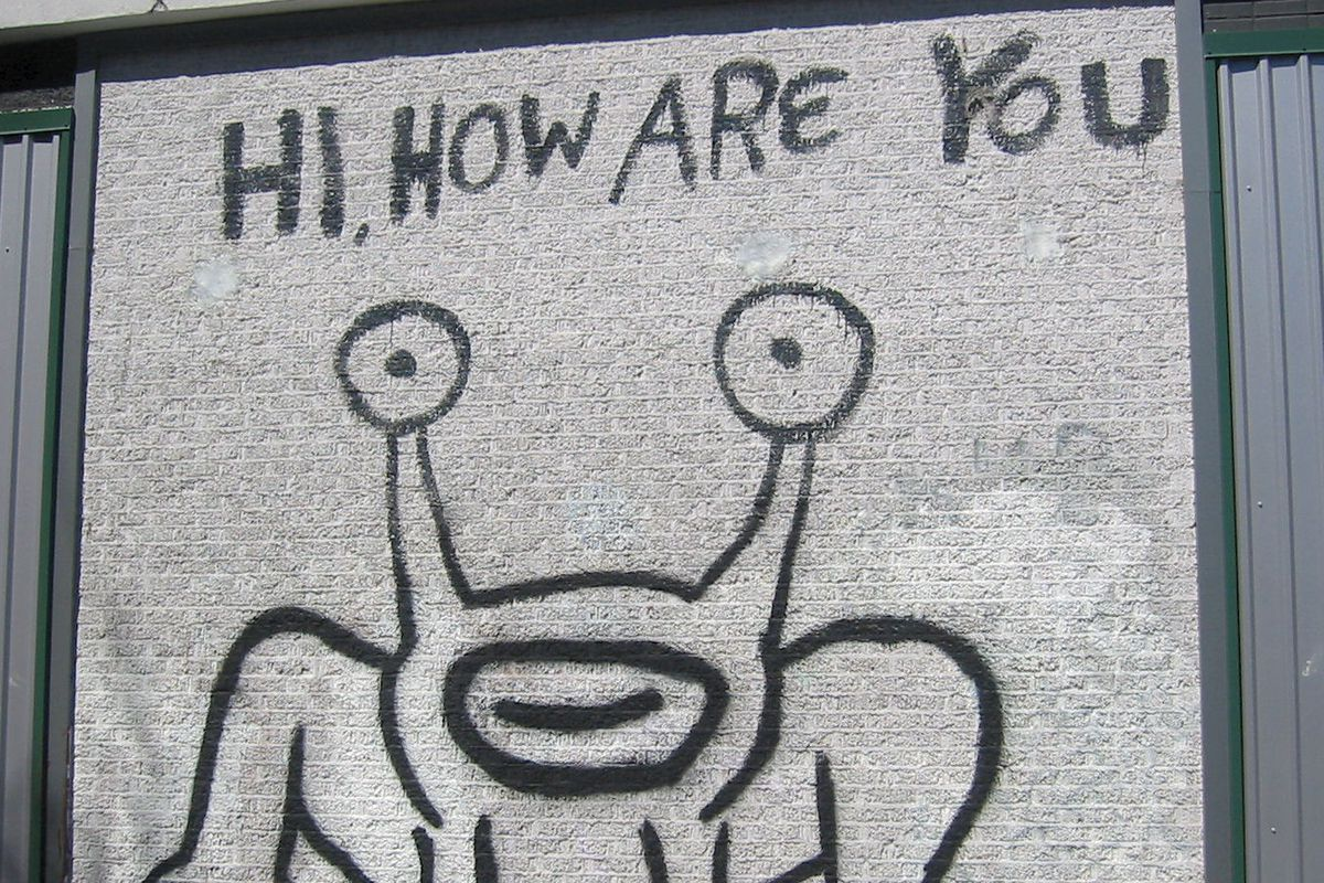 Mural with outline drawing of frog in black paint and words Hi How are you above