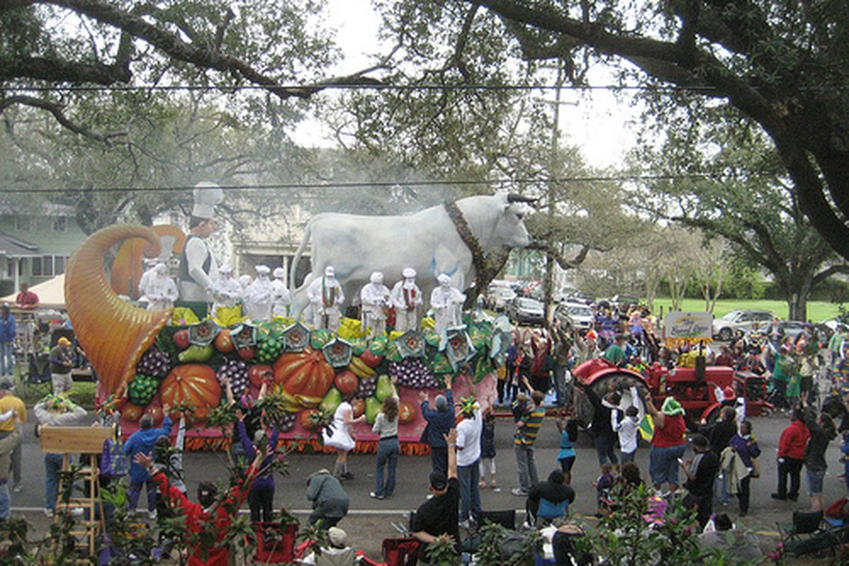 """The Krewe of Rex """"Boeuf Gras"""" float, 2011."""