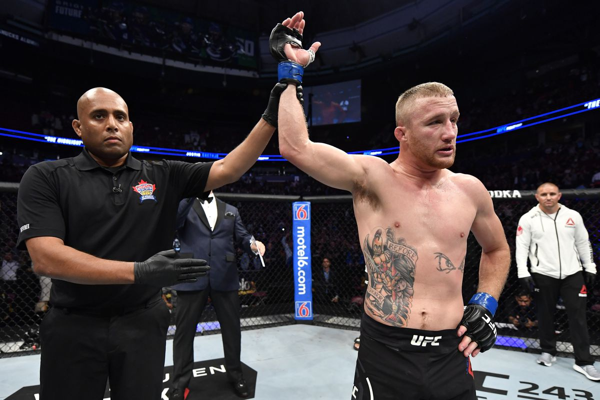 Justin Gaethje celebrates after defeating Donald Cerrone in their lightweight bout during the UFC Fight Night event at Rogers Arena on September 14, 2019 in Vancouver, Canada.