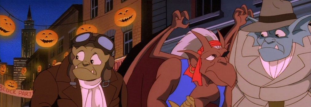 Three of the characters from Gargoyles put on hats on Halloween, with bright lights hanging from behind them.