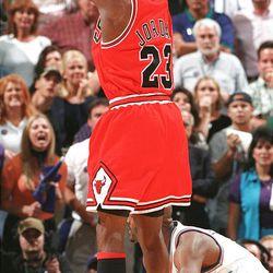 Micheal Jordan's winning shot during Game 6 of the NBA Finals at the Delta Center, June 14, 1998.