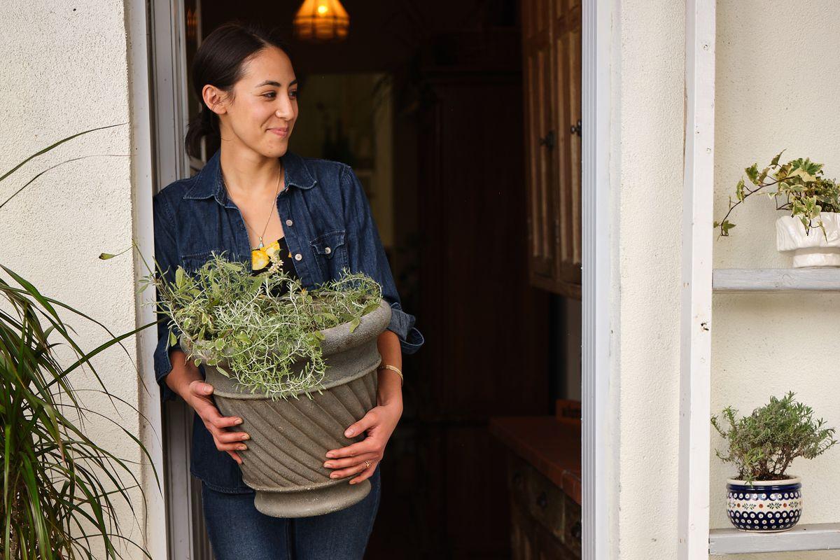 Women holding pot of herbs