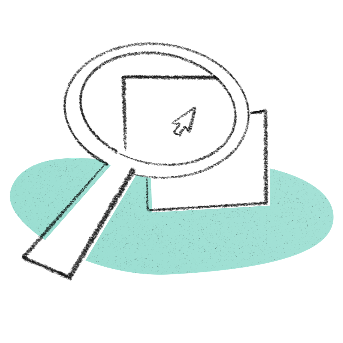 An illustration of a magnifying glass with a computer mouse pointer inside of it.