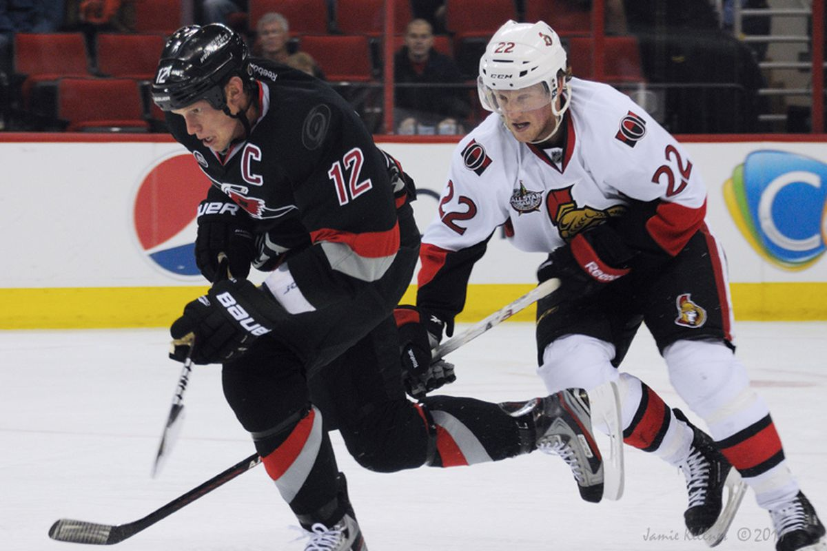 """Kirk Muller says Eric Staal """"does not have to feel that he has to carry the whole team on his shoulders."""" Photo from the SO loss to the Sens  Oct 25, 2011 via <a href=""""http://farm7.staticflickr.com/6108/6283263980_9392a734c9_b.jpg"""">Jamie Kellner</a>"""
