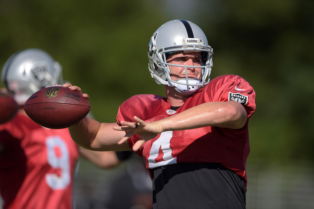What condition the Raiders position is in heading into training camp: Quarterback