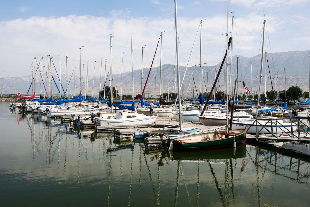 Sailboats are docked at Utah Lake's Lindon Marina in Vineyard on Monday, Aug. 24, 2020.