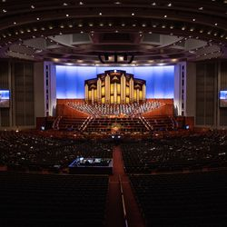 A limited number of people attend the Saturday evening session of the 191st Semiannual General Conference of The Church of Jesus Christ of Latter-day Saints at the Conference Center in Salt Lake City on Saturday, Oct. 2, 2021.