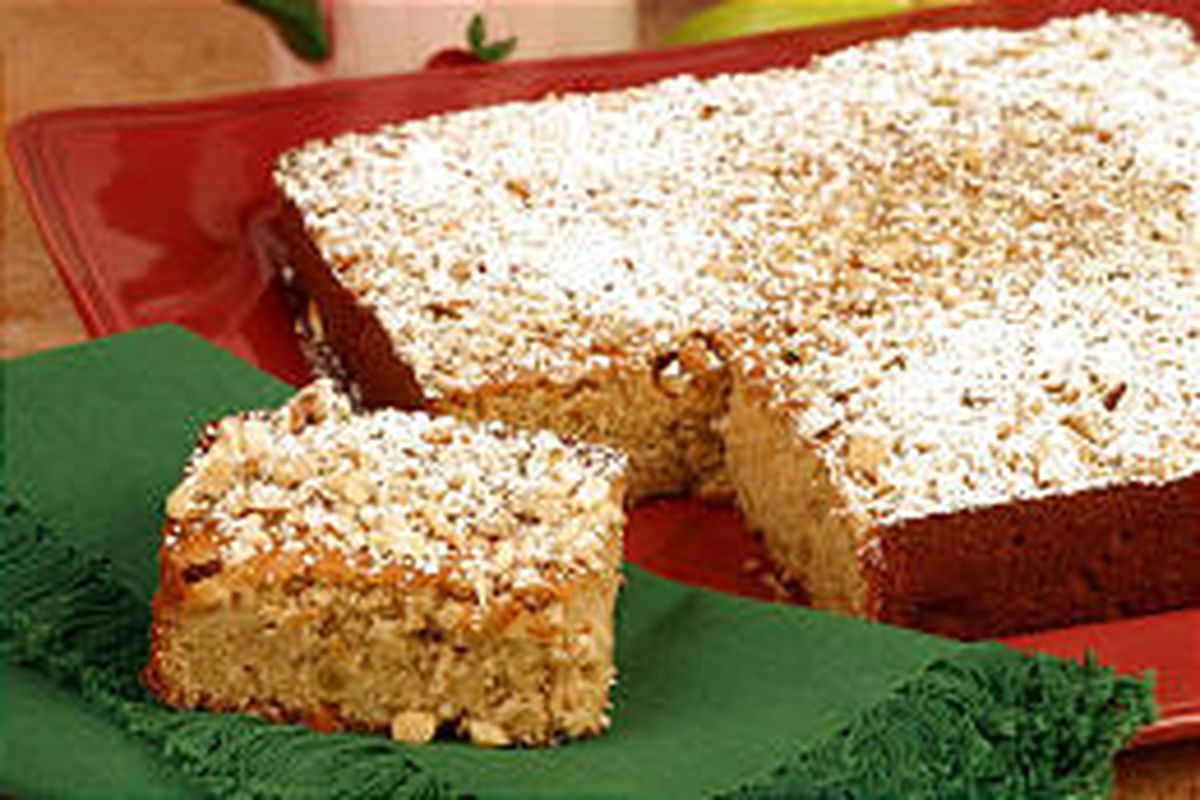 Cake made with apples and almonds can be cut into handy squares.