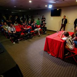 Real Salt Lake's goalkeeper Nick Rimando is joined by his kids, Benny Rose Rimando and Jett Nicholas Rimando, at a press conference at Rio Tinto Stadium in Sandy on Friday, Sept. 27, 2019. Rimando will play his last home game on Sunday.