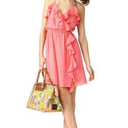 "<b>Milly</b> Ruffle wrap dress, <a href=""http://www.millyny.com/Shop/All-Dresses/RUFFLE-WRAP-DRESS-2397.html"">$112</a>"
