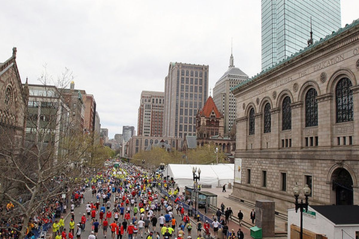 BOSTON - APRIL 19:  Participants walk down Boylston Street after finishing during the 114th Boston Marathon on April 19, 2010 in Boston, Massachusetts. (Photo by Jim Rogash/Getty Images)