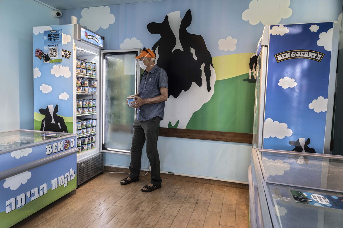 An Israeli shops at the Ben & Jerry's ice-cream factory in the Be'er Tuvia Industrial area.