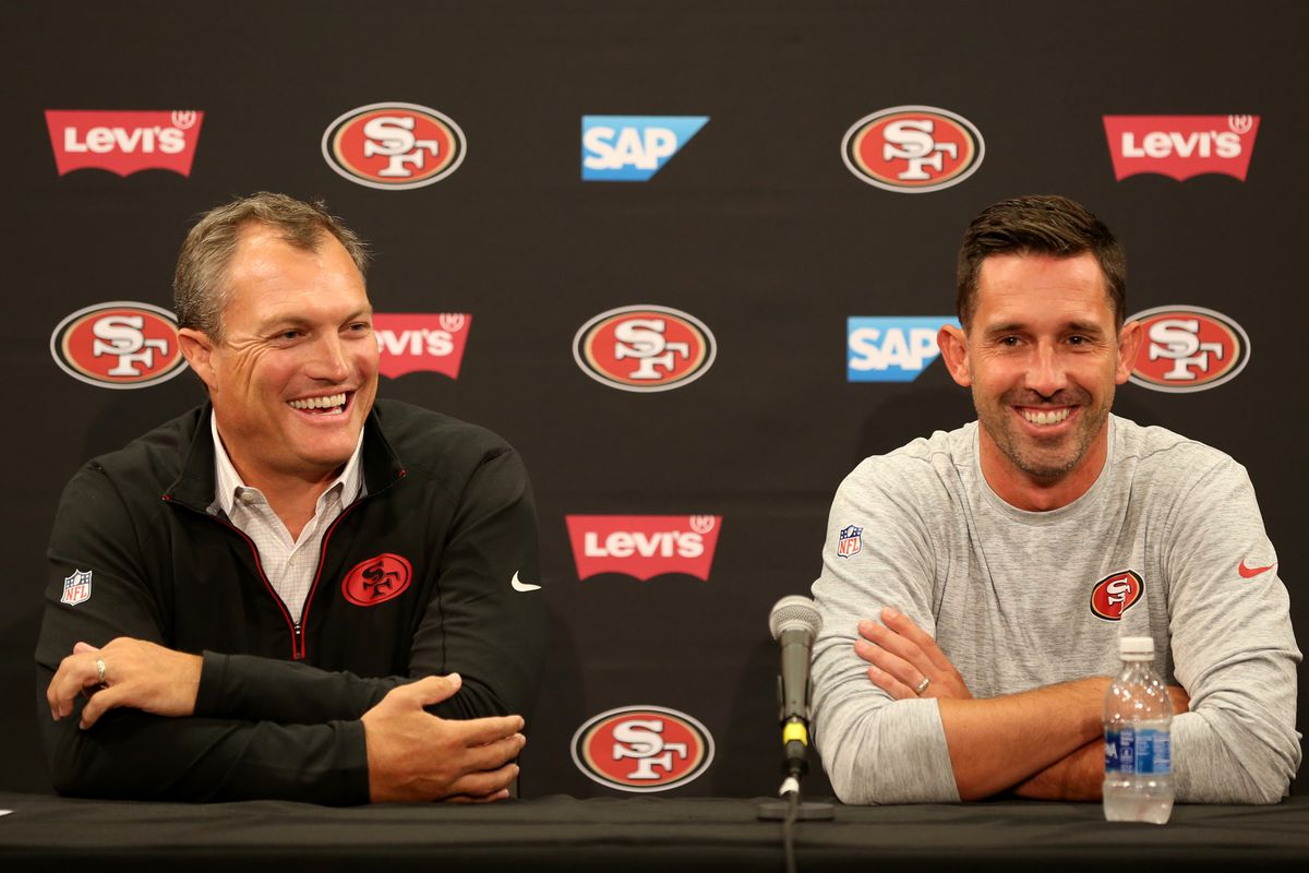 San Francisco 49ers general manager John Lynch and head coach Kyle Shanahan, from left, attend a news conference at Levi's Stadium in Santa Clara, Calif., on Thursday, July 27, 2017. Players reported for training camp on Thursday with practice to begin on