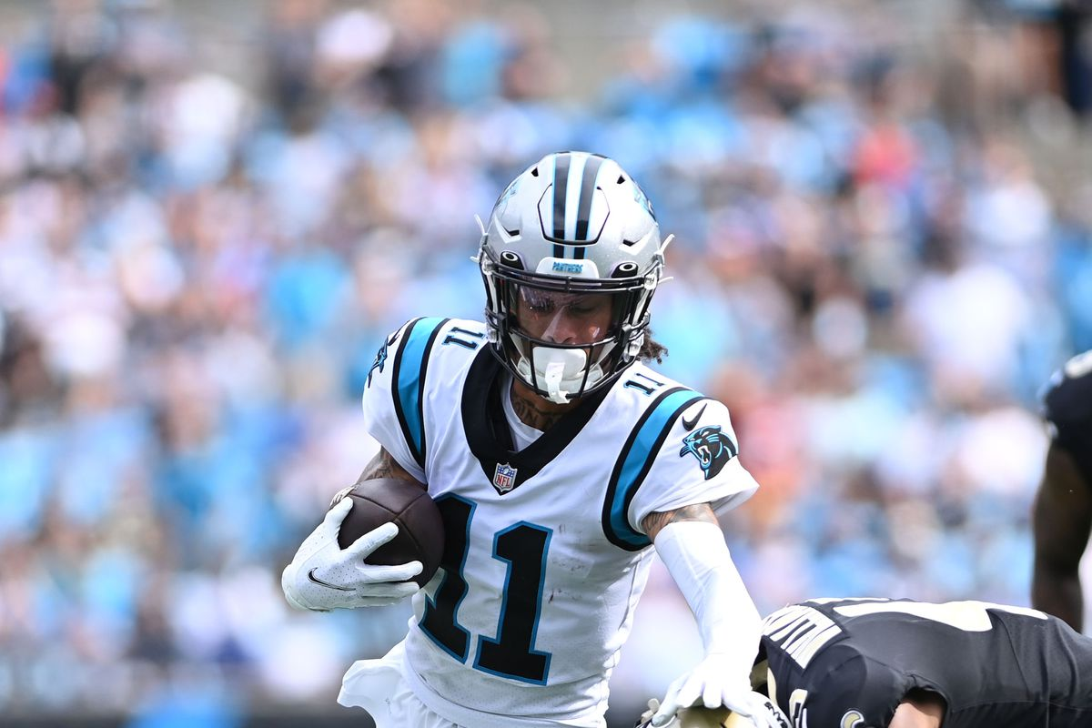 Carolina Panthers wide receiver Robby Anderson (11) with the ball as New Orleans Saints free safety Marcus Williams (43) defends in the fourth quarter at Bank of America Stadium.