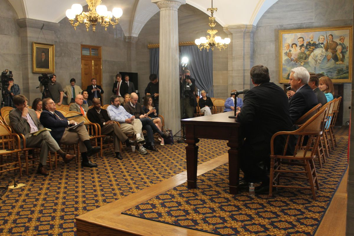 Legislative leaders speak with reporters at the state Capitol.