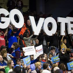 People filter into the UIC Pavilion for Sunday's rally. | Ashlee Rezin/Sun-Times