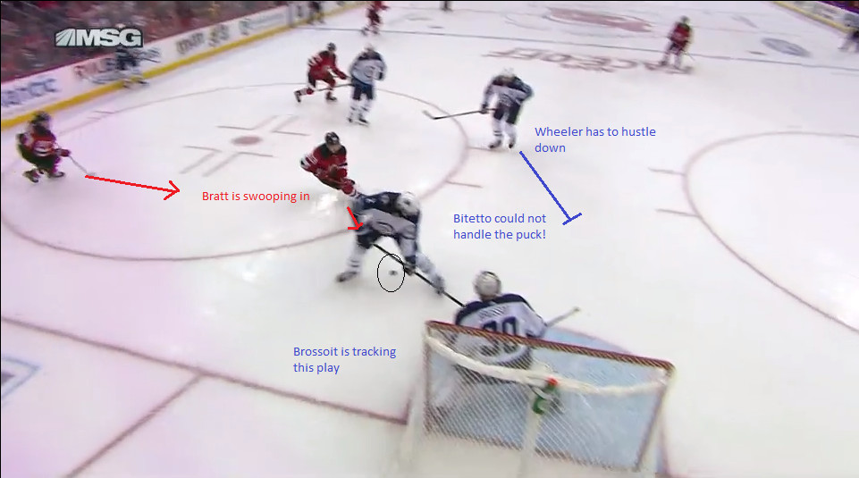 Part 9: Bitetto loses the puck in his skates, Bratt swoops in.