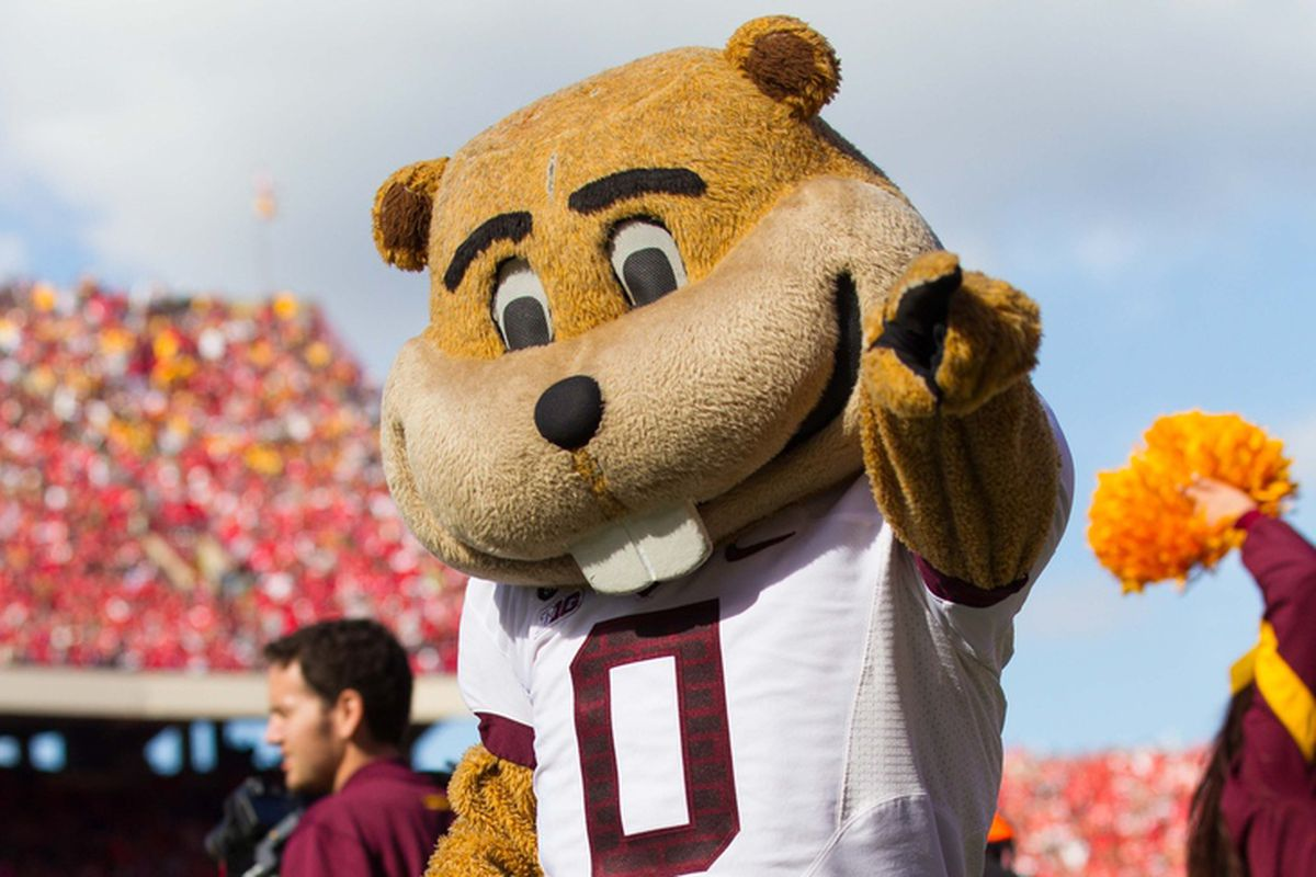 Oct 20, 2012; Madison, WI, USA; Minnesota Golden Gophers mascot Goldy during the game against the Wisconsin Badgers at Camp Randall Stadium.