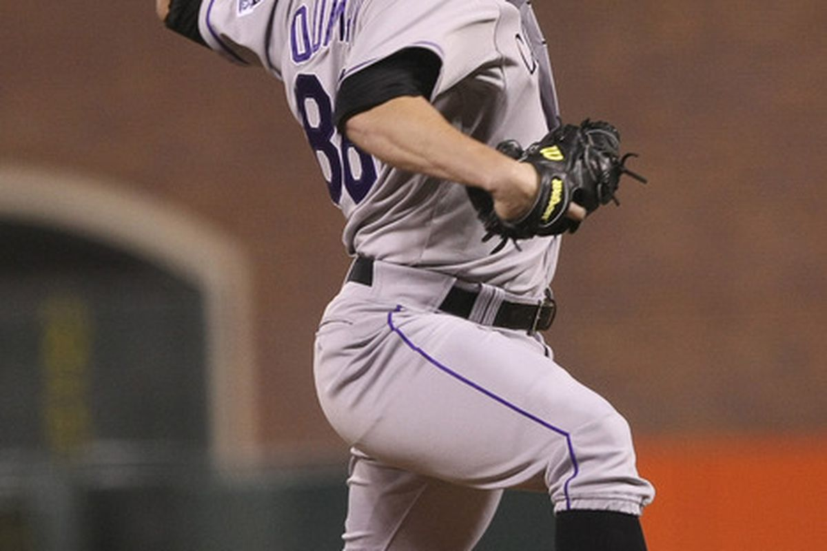 May 15, 2012; San Francisco, CA, USA; Colorado Rockies relief pitcher Josh Outman (88) pitches the ball against the San Francisco Giants during the sixth inning at AT&T Park. Mandatory Credit: Kelley L Cox-US PRESSWIRE