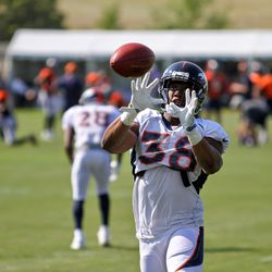 Broncos CB Marcus Rios prepares to catch the ball during drills on day seven of Broncos Camp.