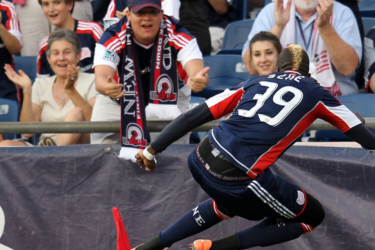 FOXBORO, MA - JUNE 30:  Saer Sene #39 of the New England Revolution celebrates his goal against the Seattle Sounders FC at Gillette Stadium on June 30, 2012 in Foxboro, Massachusetts. (Photo by Jim Rogash/Getty Images)
