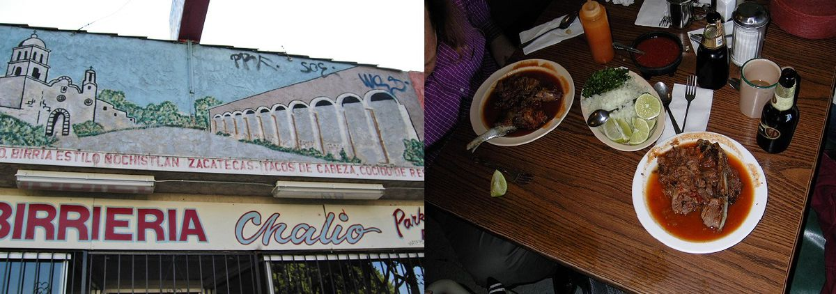A birria joint in East LA on the left and two plates of soupy red beef birria on a table on the right.
