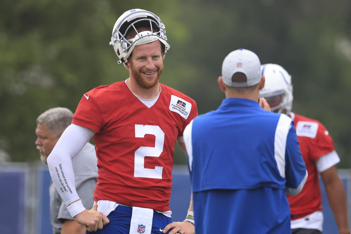 Carson Wentz #2 of the Indianapolis Colts on the field during the Indianapolis Colts Training Camp at Grand Park on July 29, 2021 in Westfield, Indiana.