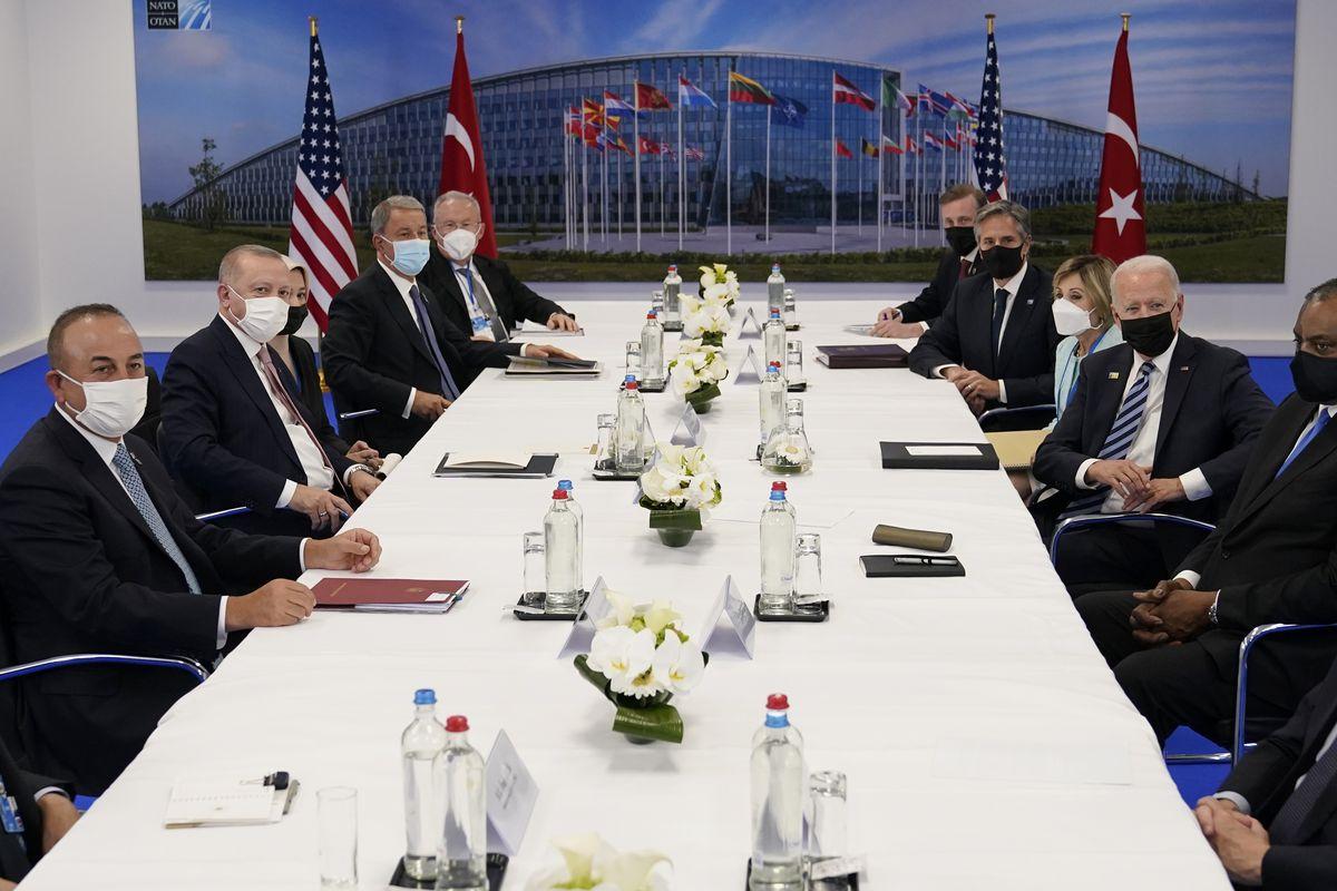 President Joe Biden, Turkish President Recep Tayyip Erdogan visit at NATO headquarters in Brussels.
