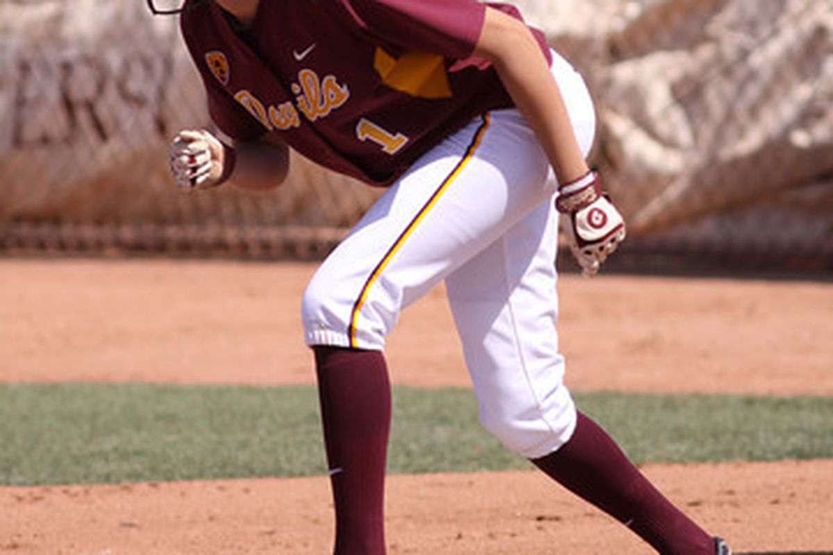 Kayla Ketchum stands at first base in a game against San Diego State on May 22, 2011 in Tempe, Arizona. Photo courtesy of Steve Rodriguez.