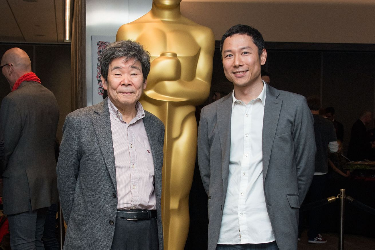 Isao Takahata (L) and Yoshiaki Nishimura attend the 87th Annual Academy Awards Oscar Week Celebrates Animated Features at Samuel Goldwyn Theater on February 19, 2015 in Beverly Hills, California.