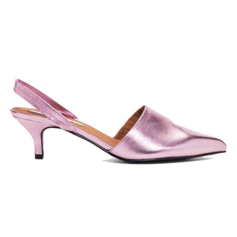 metallic pink slingbacks