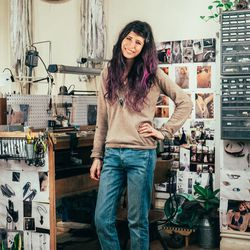 Pamela Love is wearing an Alexander Wang sweater, Rag & Bone jeans, and Feit shoes. Photos by Driely S. for Racked.