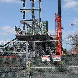 1:46 p.m. The right-field video board structure is now up -
