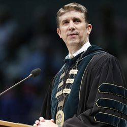 UVU President Matthew Holland speaks at Utah Valley University during commencement in Orem on Thursday, April 30, 2015.