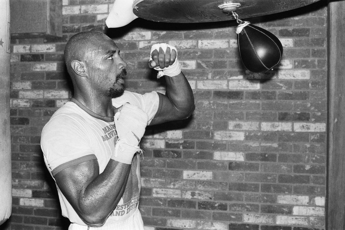 Marvin Hagler training ahead of his world title fight against champion Alan Minter