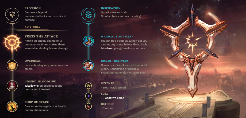 A rune page for Aphelios, which has him taking Press the Attack as his Keystone