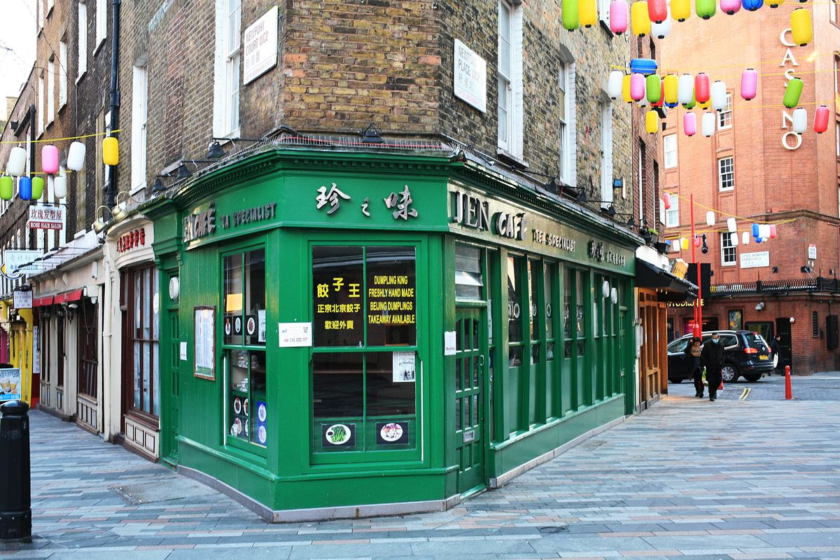 Outside Jen Cafe, the streets of Chinatown London are deserted during the coronavirus lockdown in