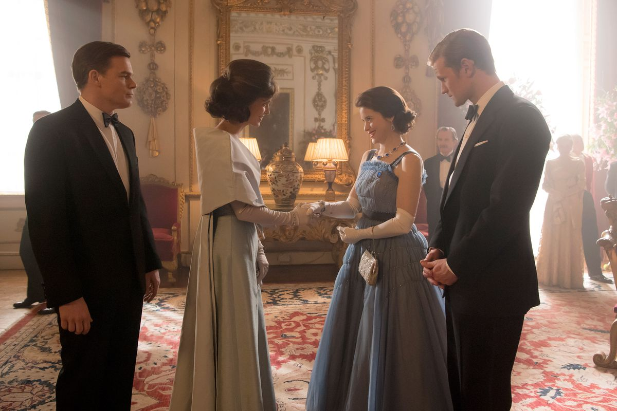 Michael C. Hall, Jodi Balfour, Claire Foy, and Matt Smith playing JFK, Jackie Kennedy, Queen Elizabeth, and Prince Phillip in The Crown