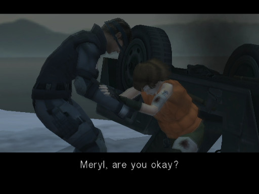 Metal Gear Solid: The Twin Snakes - Snake pulling Meryl out of overturned vehicle