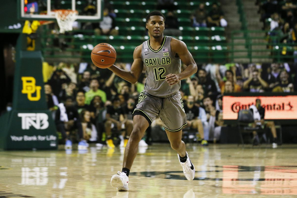 Baylor Bears guard Jared Butler runs the offense against the Kansas Jayhawks during the first half at Ferrell Center.