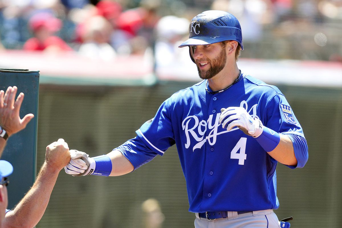 CLEVELAND, OH - JULY 31: Alex Gordon #4 of the Kansas City Royals celebrates after a solo home run during the fourth inning against Cleveland Indians at Progressive Field on July 31, 2011 in Cleveland, Ohio. (Photo by Jason Miller/Getty Images)
