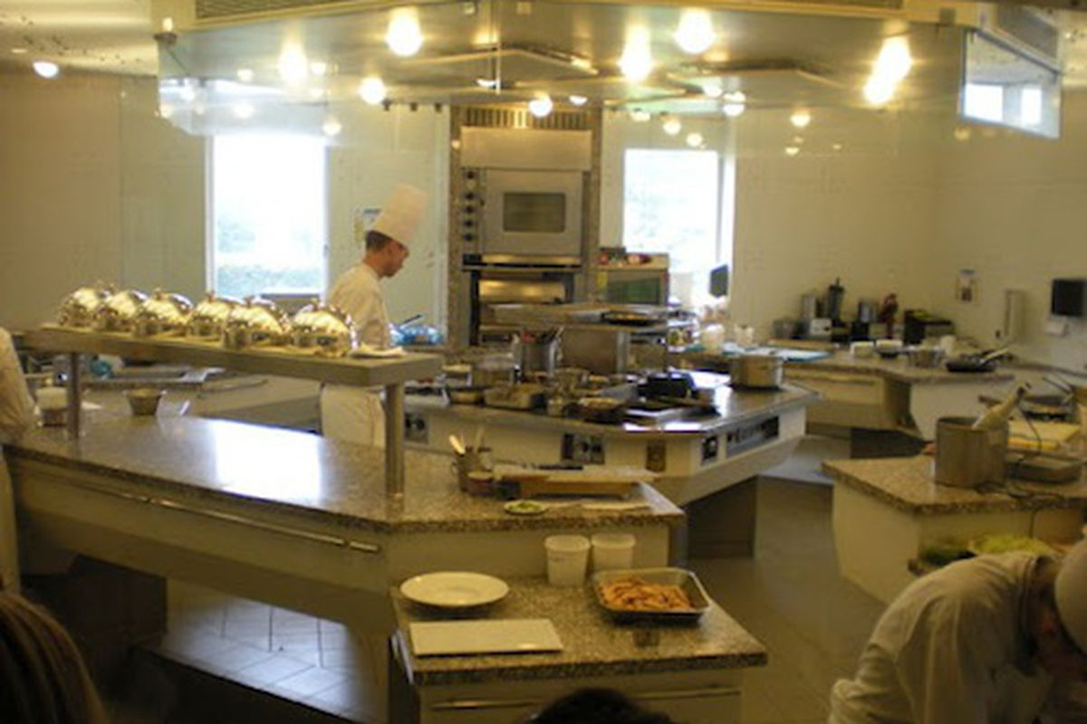 A kitchen at the John Folse Culinary Institute.