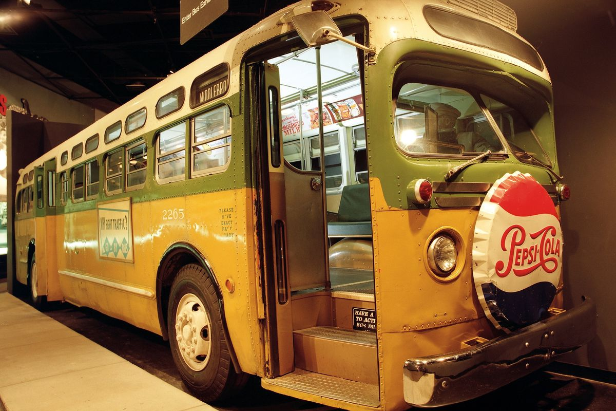 This photo, from The National Civil Rights Museum in Memphis, Tenn., shows the Montgomery Bus Boycott exhibit, which features a 1950's bus with seated figures of Rosa Parks and a white bus driver.