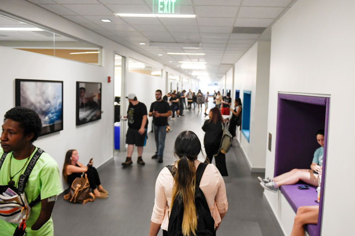 Sharai Conde walks down a hallway for her introduction to eastern religions class at Metropolitan State University of Denver in August 2019. Conde is an 18-year-old first-generation college student, who is the daughter of Mexican immigrants.