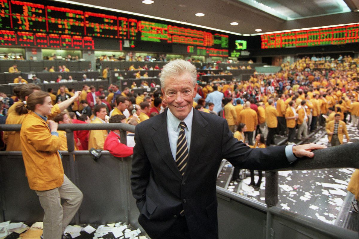 Jack Sandner on the trading floor of the Chicago Mercantile Exchange in 1997.