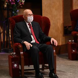 President Dallin H. Oaks is seated in the Conference Center Theater for the Saturday morning session of the 190th Semiannual General Conference of The Church of Jesus Christ of Latter-day Saints on Oct. 3, 2020.