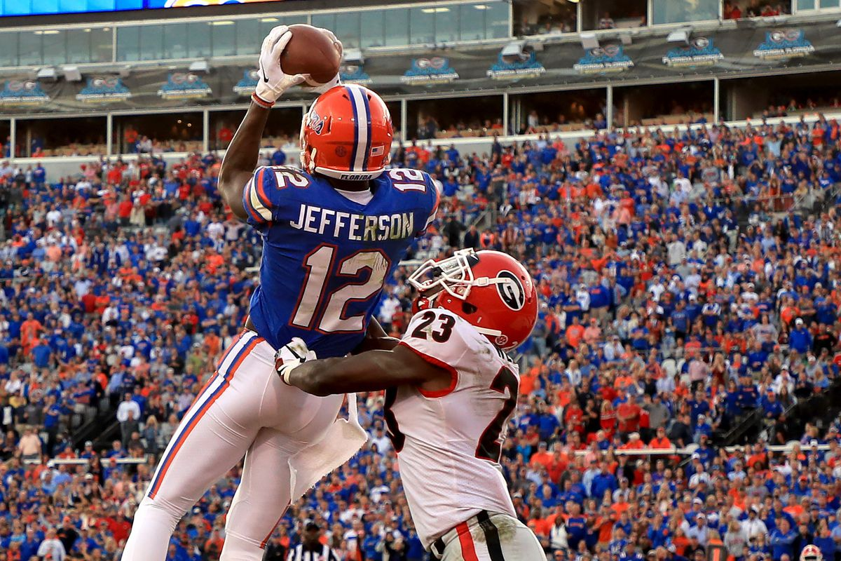 Van Jefferson #12 of the Florida Gators scores a touchdown during a game against the Georgia Bulldogs on November 02, 2019 in Jacksonville, Florida.